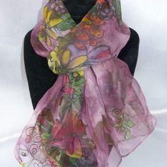 Echarpe foulard en mousseline peint main fleuri  prune…