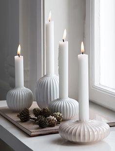 Hammershøi Kerzenständer in Weiß & Rosa von Kähler Design