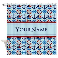 Nautical Stripes Cute Anchor Monogram Shower Curtain  Nautical Stripes Cute Anchor Monogram - Custom Name. Sailor ships and anchors pattern. $53.99