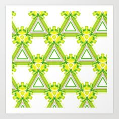 Triangle Pattern Greens & Yellows Art Print by Yellow Art, Triangle Pattern, From The Ground Up, Buy Frames, Poster Wall, Unique Art, Printing Process, Waiting, Canvas Art