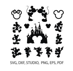 Mickey Mouse svg silhouette pack - Mickey and Minnie Mouse - Disney svg -vector clip art -Mickey clipart digital download svg, png, dxf, eps by SuperDuperDIY on Etsy