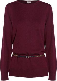 Belted Split Back Wool Sweater