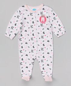 Look at this #zulilyfind! White & Pink Bows Footie - Infant by bon bébé #zulilyfinds