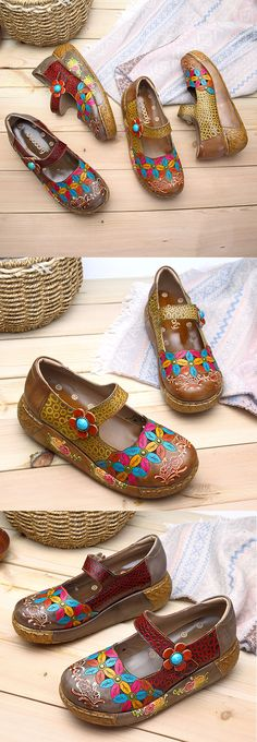 US$48.46 SOCOFY New Printing Splicing Flower Pattern Flat Leather Shoes