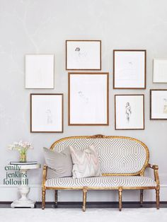 Gold, grey and white {décor inspiration | at the office : at the perfect gallery wall}