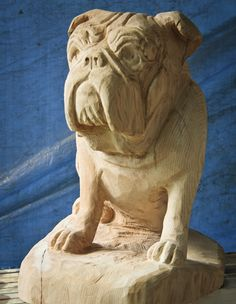 Tree Wood Carvings of Dogs | English Bulldog Carving