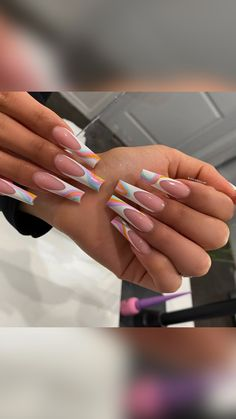 Acrylic Nails Coffin Pink, Long Square Acrylic Nails, Drip Nails, Glow Nails, Edgy Nails, Swag Nails, Stylish Nails, Acrylic Nail Designs, Coffin Nail Designs