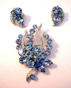 Eisenberg Ice brooch and earring set in two arctic shades of blue.. $60.00, via Etsy.