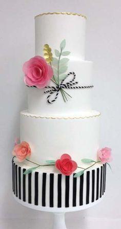white and black stripe wedding cake ~  we ❤ this! moncheribridals.com