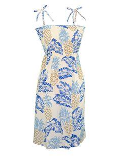 e321cb28e1 Check out the deal on Smock Dress Pineapples Island Midi Length at Shaka  Time Hawaii Clothing