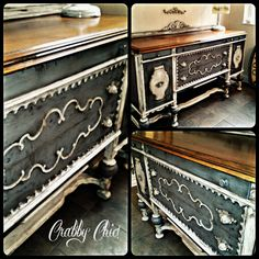 Serve up some beautiful desserts on this amazing vintage buffet done by Michelle at Crabby Chic in Jacksonville Fl Decoupage Furniture, Sideboard Furniture, Diy Furniture Projects, Repurposed Furniture, Home Decor Furniture, Furniture Makeover, Vintage Furniture, Furniture Decor, Refinished Table
