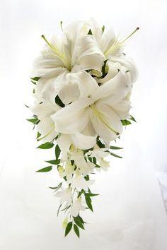 Lily Bouquet Wedding, Cascading Bridal Bouquets, Lily Wedding, Cascade Bouquet, Floral Wedding, Wedding Flowers, Floral Centerpieces, Floral Arrangements, Masquerade Wedding