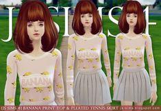 JS Sims 4: Banana Print Top & Pleated Tennis Skirt • Sims 4 Downloads