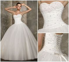 Gown. Gowns of Elegance wedding dress ball gown lace back beaded bodice.