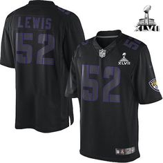 Baltimore Ravens http://#52 Ray Lewis NIKE Black Impact With Super Bowl Patch Mens Game NFL Jersey$79.99