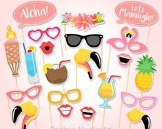 Afdrukbare Flamingo partij Photo Booth Props door PrintablePropShop