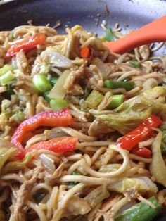 Filipino Pancit Canton (Egg Noodles Stir Fried with Chicken and Veggies) from asian in america