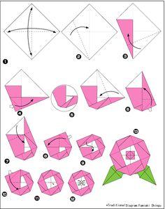 Diagram of peony origami, stage 1 Instruções Origami, Origami Paper Folding, Origami And Kirigami, Origami Fish, Origami Dragon, Paper Crafts Origami, Origami Design, Paper Crafting, Origami Instructions