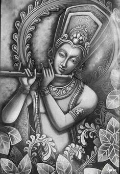 Coloring for adults - Kleuren voor volwassenen Dancing Drawings, Cool Art Drawings, Pencil Art Drawings, Art Drawings Sketches, Ganesha Painting, Buddha Painting, Buddha Art, Krishna Drawing, Krishna Art