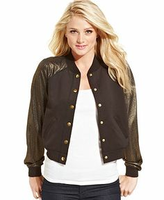 Marilyn Monroe Juniors' Jacket, Metallic Bomber - Juniors Jackets & Vests - Macy's