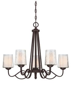 5 Light chandelier. Opal etched glass, with dark cherry finish