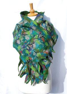 Felted scarf   felt scarf merino wool  alpaca wool   by AnnaWegg, £42.99