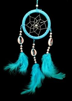 Mini Handmade Dream Catcher Car of Wall Hanging #handmade Dream Catcher is a traditional culture of Native Americans. They believe that a dreamcatcher changes a person's dreams.Nightmares pass through the holes and out of the window. The good dreams are trapped in the web, and then slide down the feathers to the sleeping person. the sale is for one dream catcher hanging the sale is for one dream catcher hanging Color : light blue.  made from yarn and feathers the sale is for one drea..