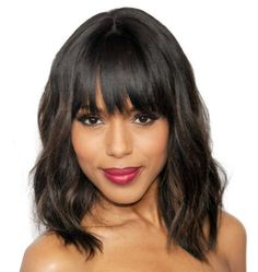 "14"" Wavy Bob With Bangs Wigs For African American Women The Same As The Hairstyle In Picture - Human Hair Wigs For Black Women"