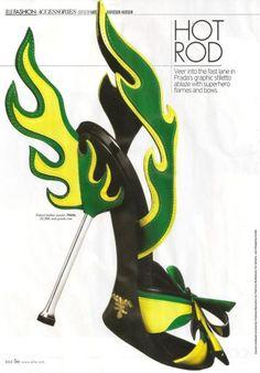 Green and yellow Prada flame shoe