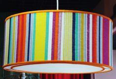 lampara colgante tambor de 40cm con difusor 2 luces