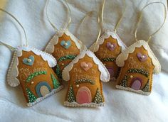 Felt Gingerbread House Christmas Ornament by LiliJCreative on Etsy