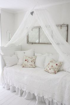 Shabby Chic//note to self:use the sliding drapery rod(towel holder) and do this over the twin bed
