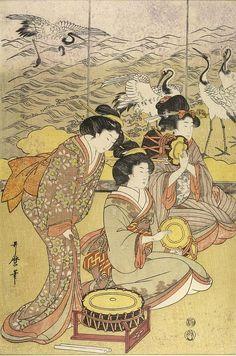 "vintage geisha art: vintage geisha art: Kitagawa Utamaro (Japanese: 喜多川 歌麿; ca1753 – 1806 Oct31) ""Three Women with Musical Instruments"" (Harvard Art Museums) (Edo period 1753-1868) • ukiyo-e genre of woodblock print ""ôban"" format; ink/color on paper • size: 39 x 26.4cm (15 3/8 x 10 3/8"") • Utamaro was famous for bijin-ga (female beauties) + nature studies (esp. insect books) influenced the European Impressionists"