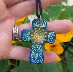 18.99 + free shipping Blue Sun Mexican Folk Art Cross Unique Cross by GospelHymns