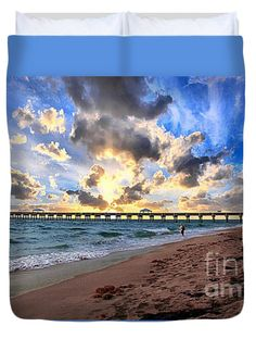 Juno Beach Pier Florida Sunrise Seascape D7 Queen Duvet Cover by Ricardos Creations.  Available in king, queen, full, and twin.  Our soft microfiber duvet covers are hand sewn and include a hidden zipper for easy washing and assembly.  Your selected image is printed on the top surface with a soft white surface underneath.  All duvet covers are machine washable with cold water and a mild detergent.
