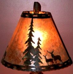Mica Lamp Shade Deer Pine Trees Metal Cutout Scene, Custom Themes And Sizes, Amber Or Silver Mica