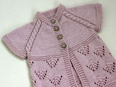 Pink Vest Hand Knit Baby girl