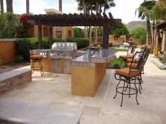 Kitchen, Lovely Modular Outdoor Kitchens Interior Design With Sectional Kitchen Island And Recliner Steel Stools ~ Astounding Modular Outdoor Kitchens Design feats Stainless Steel Kitchen Counter