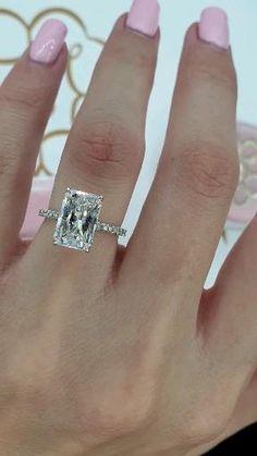 Radiant Cut Engagement Rings, Elegant Engagement Rings, Princess Cut Engagement Rings, Halo Diamond Engagement Ring, Expensive Engagement Rings, Wedding Ring Emerald Cut, Big Wedding Rings, Wedding Bands, 3 Carat Diamond Ring