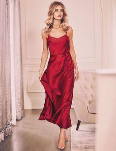 Dress: lingerie pajamas nightwear rosie huntington-whiteley red red camisole