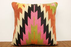 Pink Black color Hand woven Tribal pillow 20 x by kilimwarehouse, $58.00