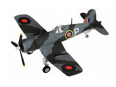 Corgi 1:72 Vought Corsair Diecast Model Airplane - AA33015 This Vought Corsair MkII JT590 Diecast Model Airplane features working propeller. It is made by Corgi and is 1:72 scale (approx. 16cm / 6.3in wingspan).  A total 2,012 Corsairs saw service with the Fleet Air Arm during WWII and the immediate post-war period.  Royal Navy Corsairs all had 41cm clipped from their wing-tips which enabled below-deck storage on British carriers which were smaller than the American carriers for which the…