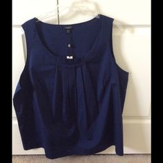 NWT Talbots navy blue blouse NWT talbots navy blue blouse. Pleating detail on front. Size 20WP. Cotton with 2% spandex. Talbots Tops Blouses