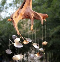 Driftwood & antique silver spoon fish windchime by NevaStarr