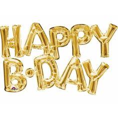 Folie ballon Happy B.Day goud. Gouden folie ballon met de horizontale tekst HAPPY B.DAY. U kunt de ballon heel gemakkelijk met een ballonpomp opblazen of met helium vullen. Formaat: ongeveer 76 x 48 cm.