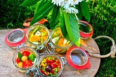 Picnic food in jars