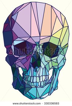 Low-poly colorful geometric skull art vector