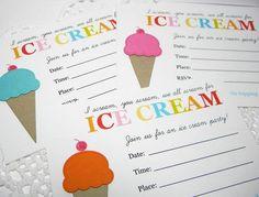 Icecream Party Invitations
