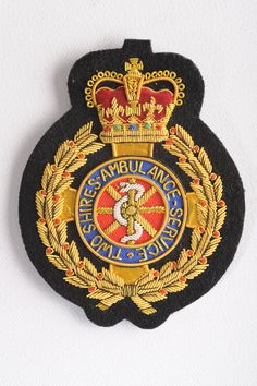 Ambulance Badge Bullion Embroidery, Embroidery Patches, Embroidered Badges, Tennis Clubs, Goldwork, Woodland Camo, French Montana, Cool Patches, Badge Design