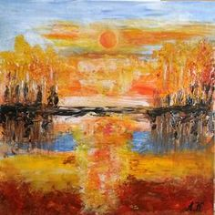Abstract landscape - sunset FREE SHIPPING by Anna Kowalczyk